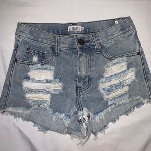Toni High Waisted Distressed Shorts